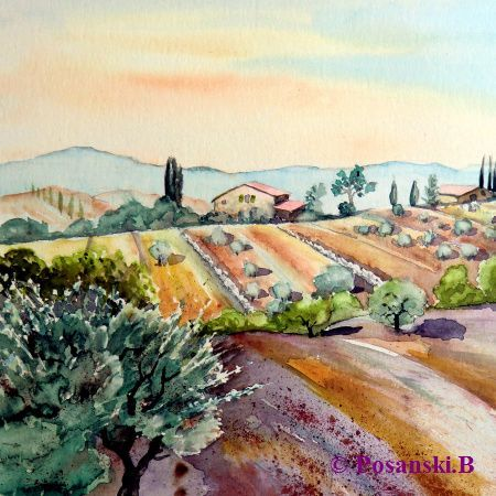 Aquarellmalerei, Toskana, Landschaft, Aquarell