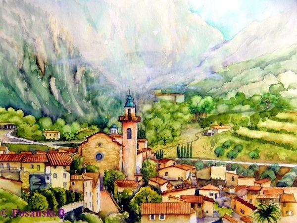 Stadtansicht, Valdemossa, Mallorca, Insel, Aquarell