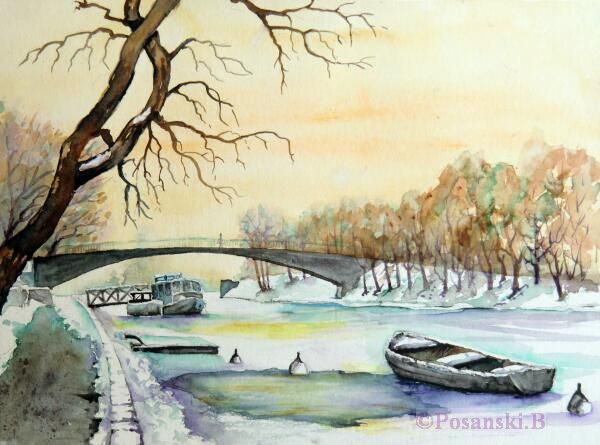 Winter, Fluss, Winterlandschaft, Landschaft, Aquarellmalerei, Aquarell