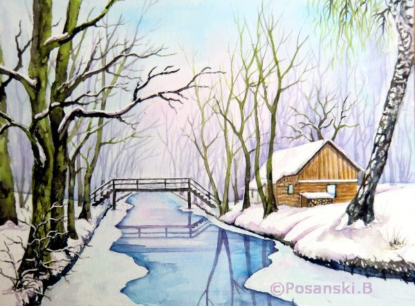 Aquarellmalerei, Winter, Spreewald, Landschaft, Aquarell