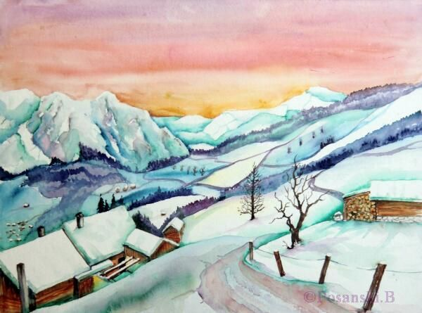 Östreich, Winterlandschaft, Aquarellmalerei, Nauders, Landschaft, Winter