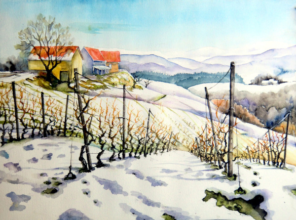 Landschaft, Weinberg, Winterlich, Winter, Aquarell, Aquarelle landschaften