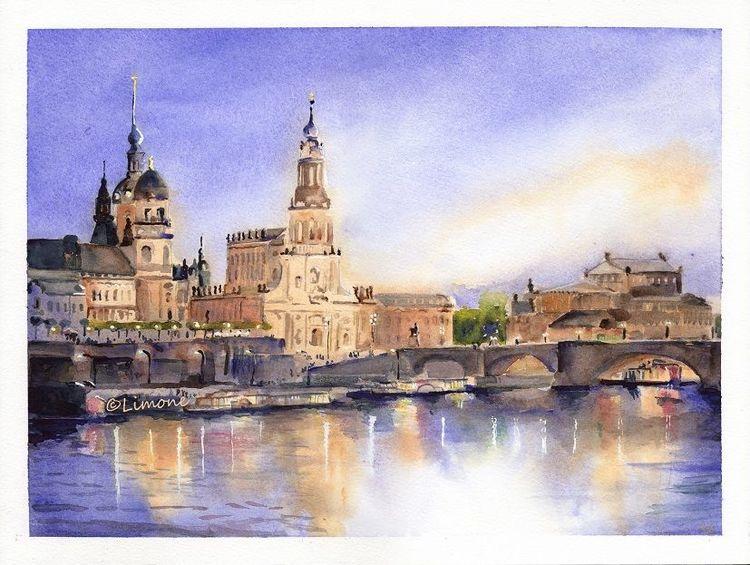 Dresden, Abend, Brühlsche terrasse, Aquarell