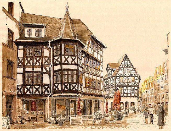 Halle, Straße, Zeichnungen,