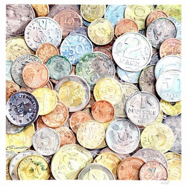 Geld, Aquarellmalerei, Münze, Aquarell