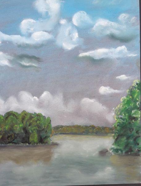 Himmel, Pastellmalerei, Kreide, See, Malerei