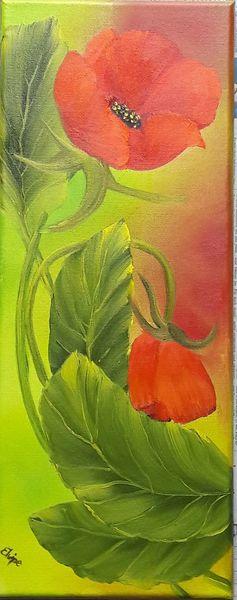 Frühling, Mohn, Blumen, Grün, Malerei