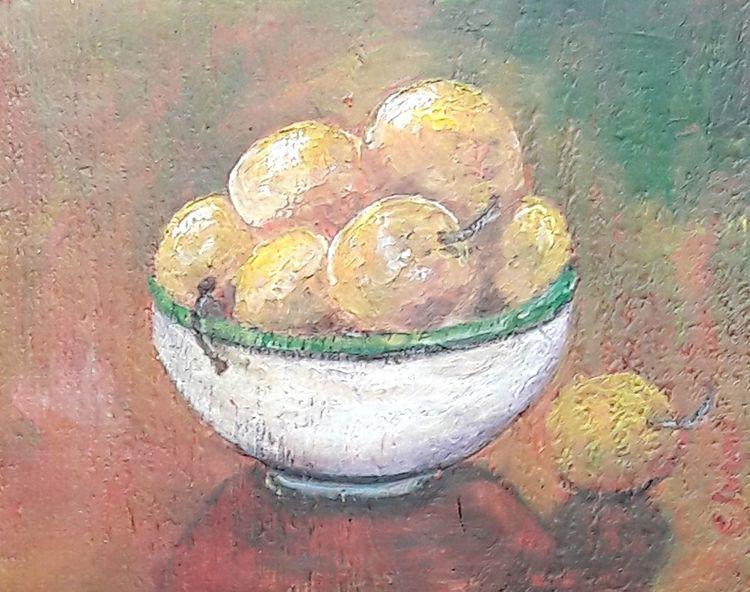 Holzbohle, Pflaume, Schale, Obst, Malerei
