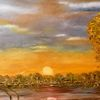 Baum, See, Herbst, Malerei