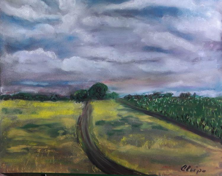 Natur, Feld, Wolken, Malerei, Sommer