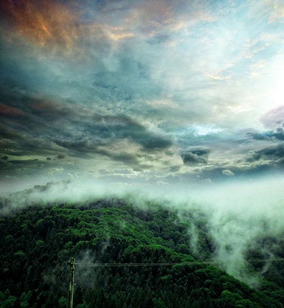Farben, Berge, Regnerisch, Digital, Morgen, Sommer