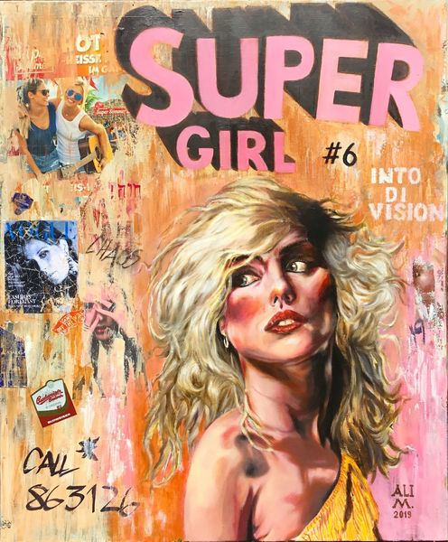 Blondie, Pop art, Debbie h, Decollage, Mixed media, Supergirl