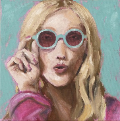 Sonnenbrille, Ölmalerei, Pink, Portrait, Menschen, Frau