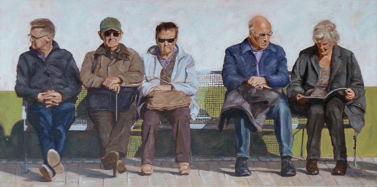 Mann, Sitzen, Frau, Menschen, Bank bahnhof, Sonne