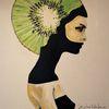 Frau, Kiwi, Malerei,