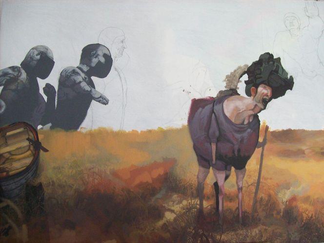 Musik, Kuh, Feld, Malerei,