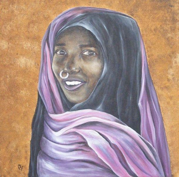 Frau, Afrika, Tuch, Beduinin, Malerei