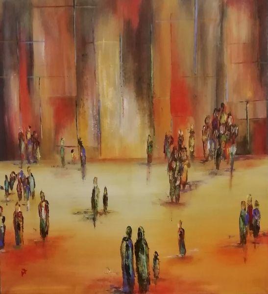 Stadt, Rot, Weiß, Gelb, Menschen, Blau