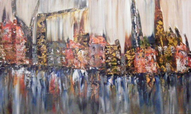 Spiegelung, Haus, Kran, Fluss, Gebäude, Stadt