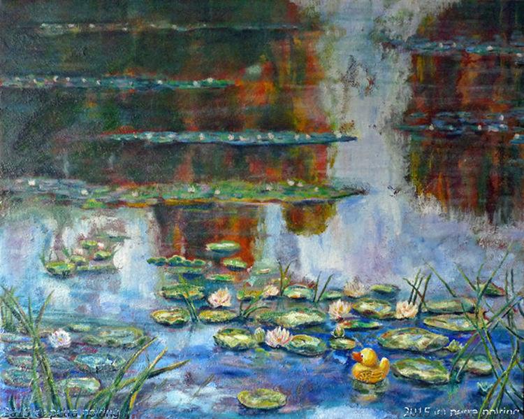 Spiegelung, Landschaft, Groß, Seerosen, Ölmalerei, Teich