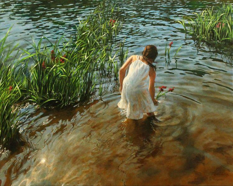 See, Realismus, Blumen, Ufer, Kind, Lichtspiel