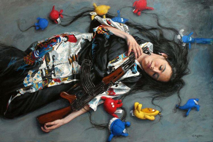 Medusa, Kimono, Waffe, Kuscheltier, Gewehr, Hyperrealismus