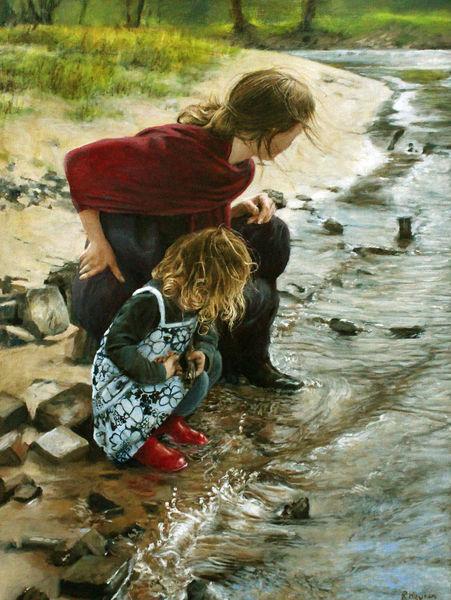 Haare, Wasser, Spielen, Fluss, Mutter, Welle