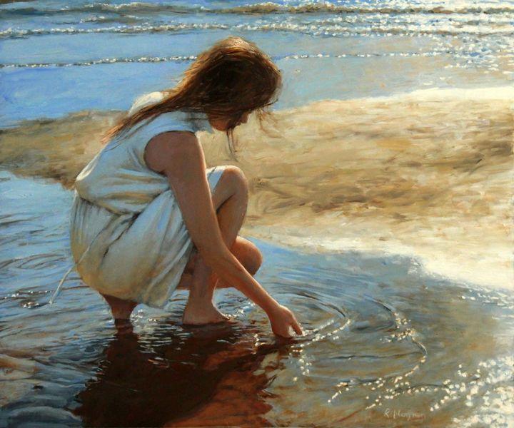 Lichtspiel, Fotorealismus, Küste, Ölmalerei, Meer, Realismus