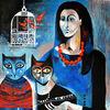 Frau, Käfig, Fische, Katze
