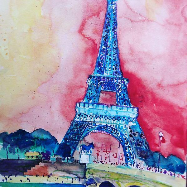 Eiffelturm, Paris, Frankreich, Mischtechnik