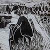 Landarbeit, Linoldruck, Auf papier, Druckgrafik