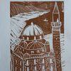 Moschee, Linoldruck, Drucktechnik, Druckgrafik