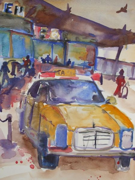 Taxi, Flughafen, Sommer, Aquarell