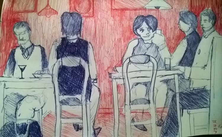 Gedächtnismalerei, Café, Szene, Menschen, Zeichnungen