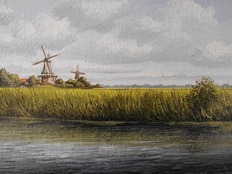 Mühle, Wasser, Norden, Malerei