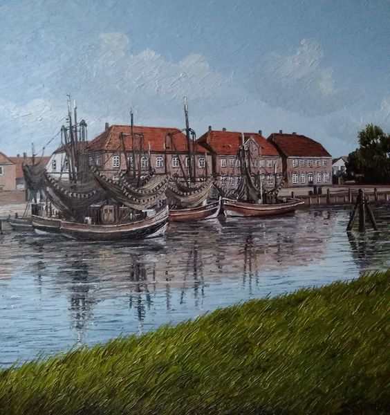 Nordsee, Wangerland, Hafen, Kutter, Malerei