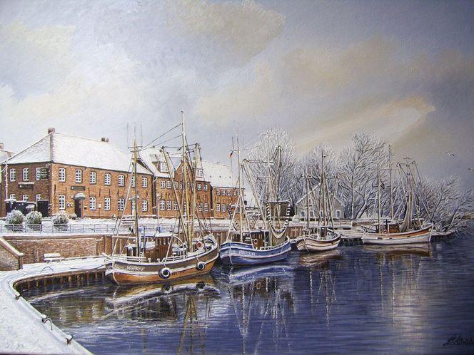Wangerland, Möwe, Hafeneinfahrt, Hooksiel, Kutter, Winter