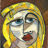 Portrait, Frau, Scribble, Ausgemalt