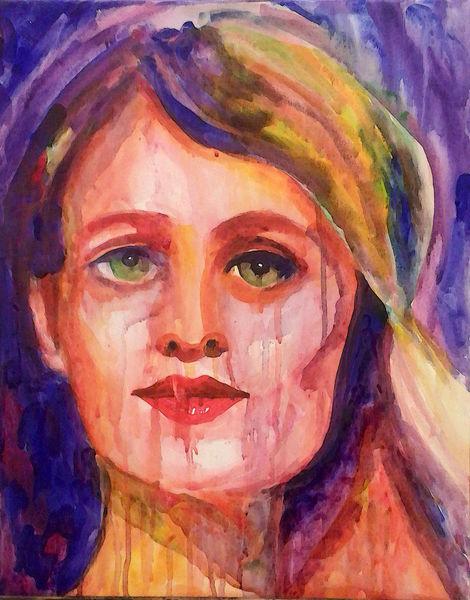 Farben, Portrait, Frau, Malerei