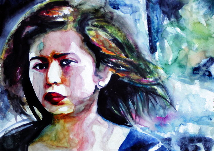 Portrait, Gesicht, Frau, Haare, Blick, Aquarellmalerei