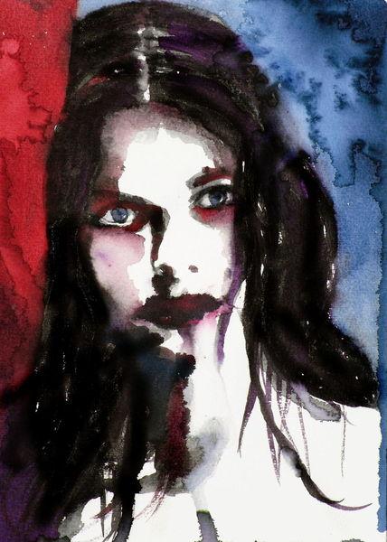 Blick, Ausdruck, Farben, Frau, Portrait, Aquarell