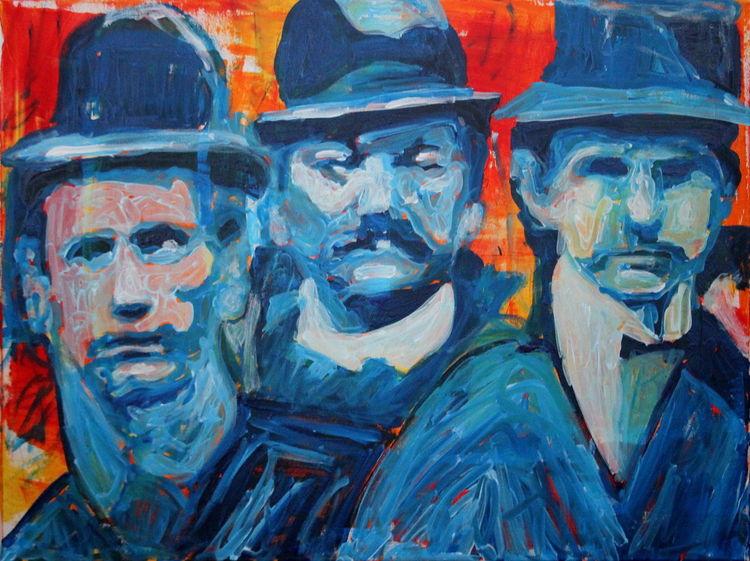 Mann, Figurativ, Menschen, Blau, Portrait, Malerei