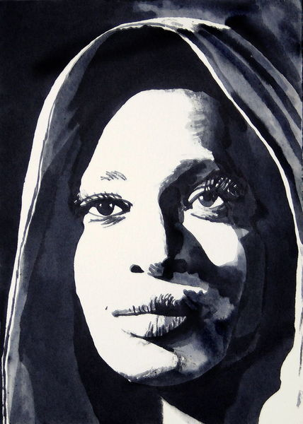 Blick, Frau, Gesicht, Portrait, Monochrom, Aquarell