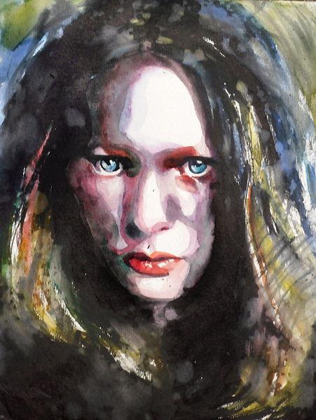 Aquarellmalerei, Ausdruck, Frau, Blick, Emotion, Aquarell
