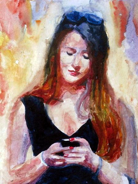 Portrait, Aquarellmalerei, Haare, Frau, Handy, Menschen