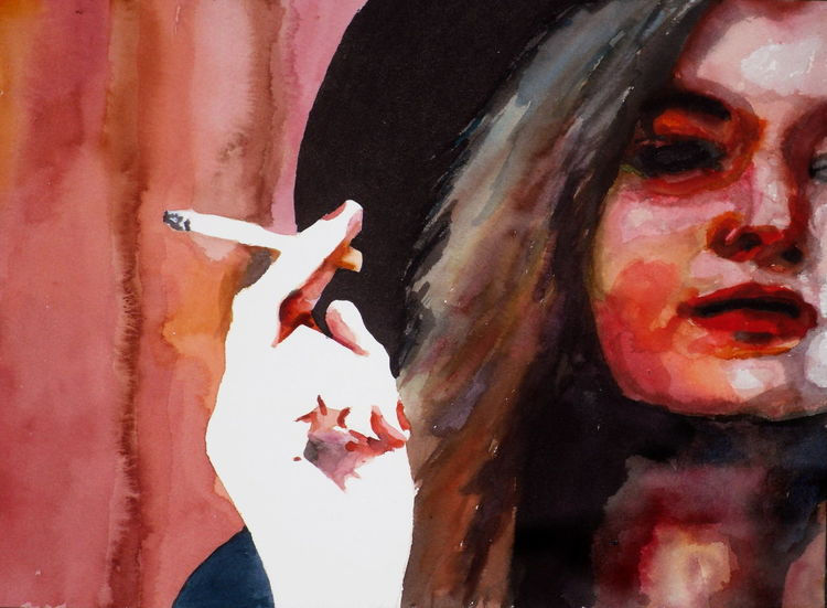 Hut, Zigarette, Gesicht, Frau, Aquarellmalerei, Aquarell