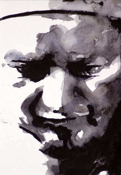 Ausdruck, Monochrom, Menschen, Gesicht, Blick, Aquarell
