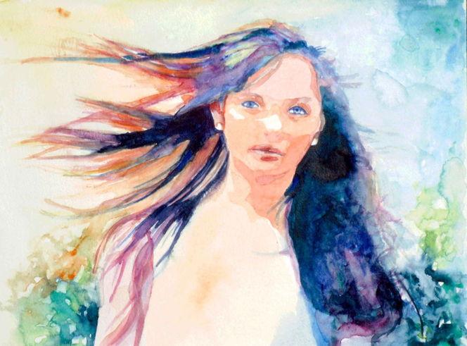 Haare, Aquarellmalerei, Farben, Frau, Blick, Portrait