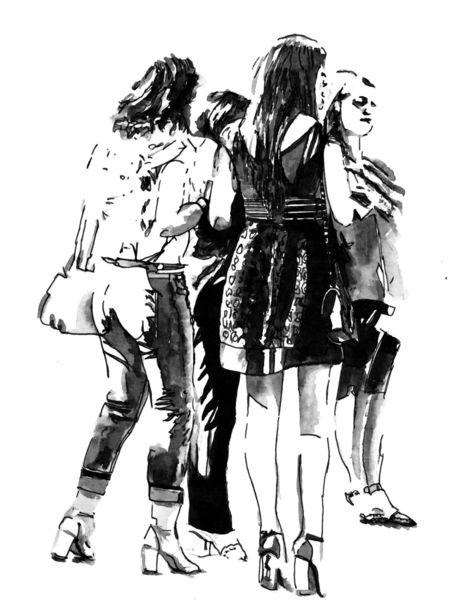 Mädchen, Frau, Zeichnung, Monochrom, Mischtechnik