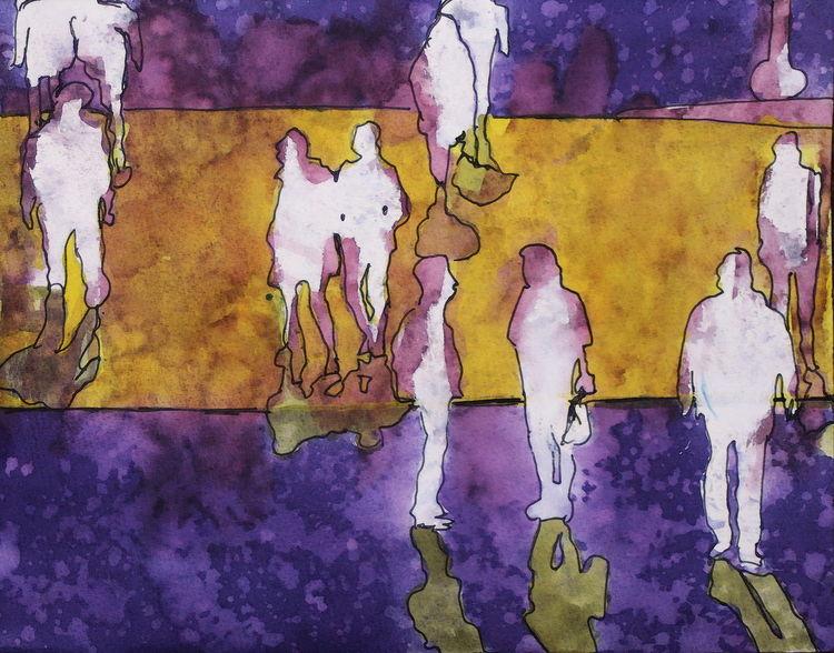 Kontur, Menge, Menschen, Malerei, Going